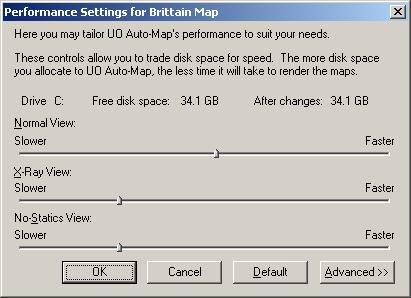 The Performance Settings dialogs.